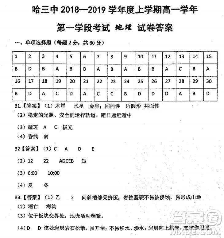哈三中2018高一期中考试地理试卷答案