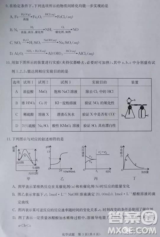 合肥市2019届高三调研性检测化学试题及答案