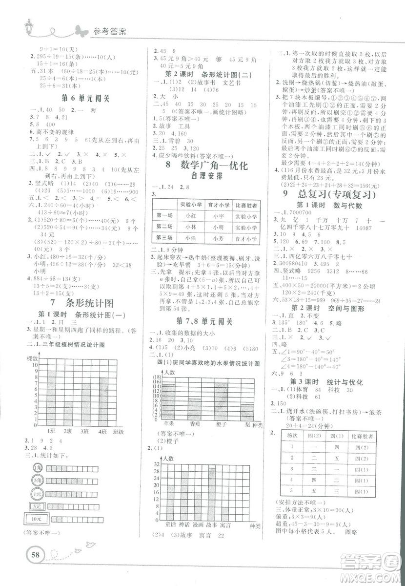 小学同步测控优化设计2018年四年级数学上册人教版福建专版答案