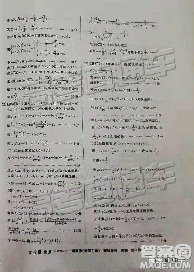 2019百校联盟TOP20十一月联考全国Ⅰ卷理数高三参考答案