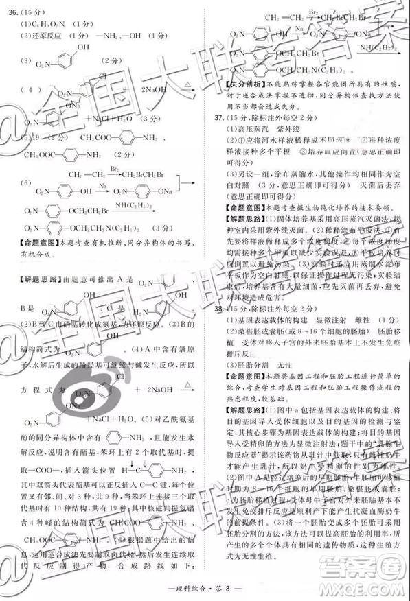 超等全能生2019高考全国卷26省12月联考甲乙卷理综参考答案