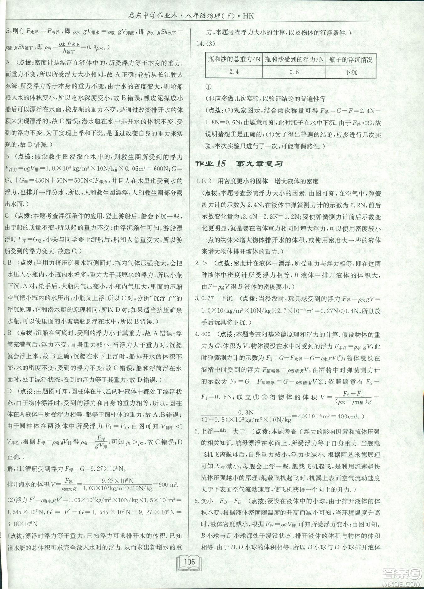 2019春季启东中学作业本沪科版HK八年级物理下册参考答案