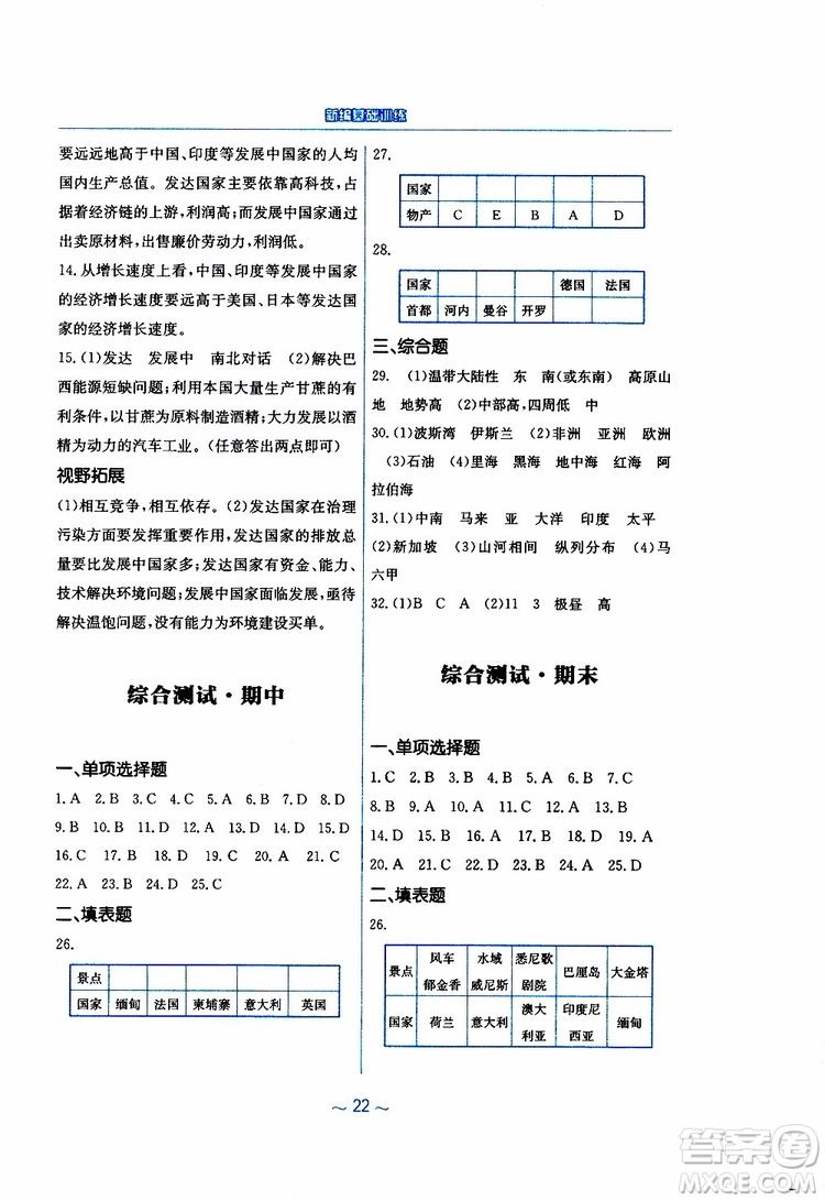 商务星球版2019春新编基础训练七年级下册地理参考答案