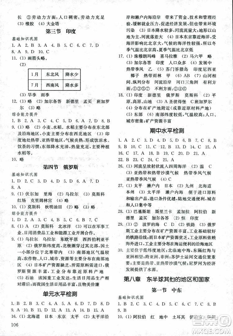 2019年初中地理六年级下册五四制基础训练参考答案
