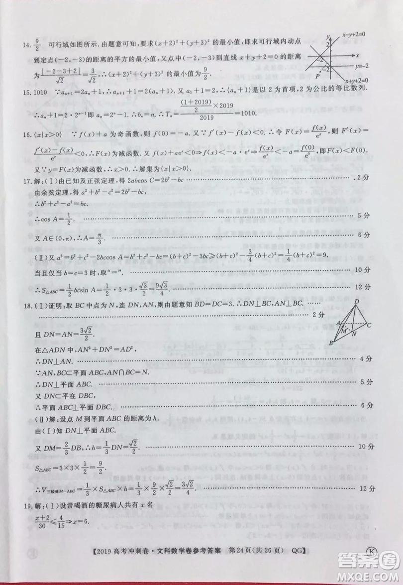 2019年普通高等学校招生全国统一考试冲刺预测卷六文理数试题及答案