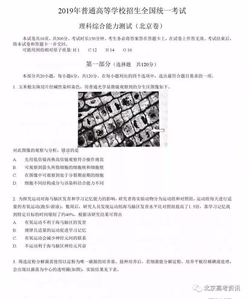 2019年高考真题北京卷理综试题及答案