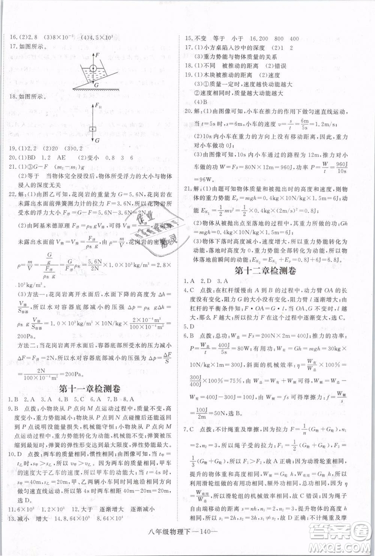 2019年优翼学练优学科思维训练法八年级物理下册RJ人教版参考答案