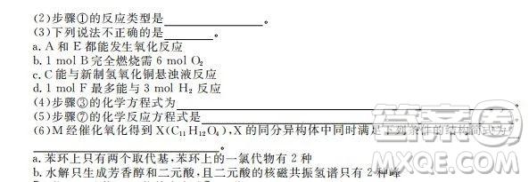河北衡水中学2020届新高三联考卷一调理综参考答案
