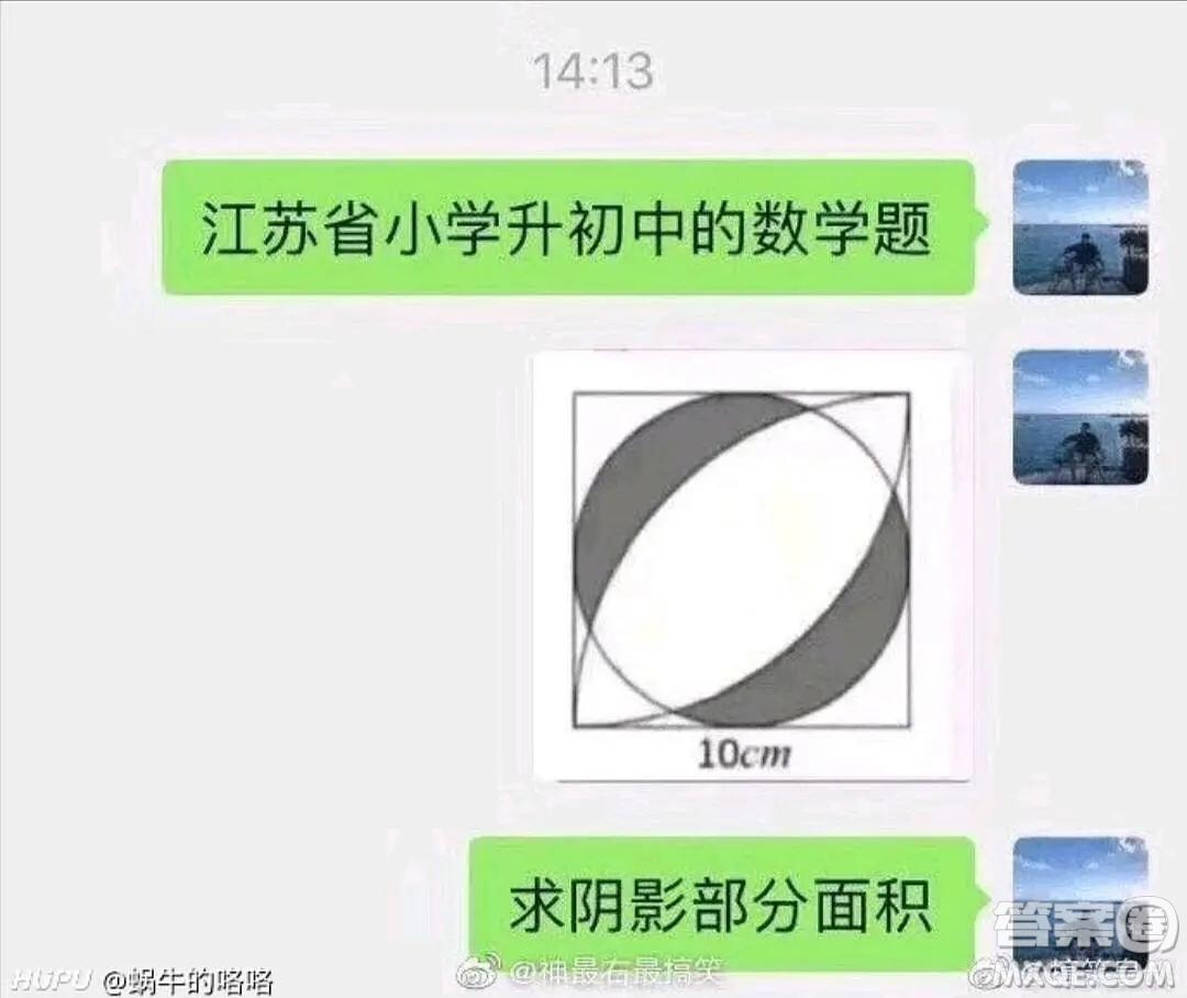 江苏省小升初数学题求阴影部分面积10cm答案